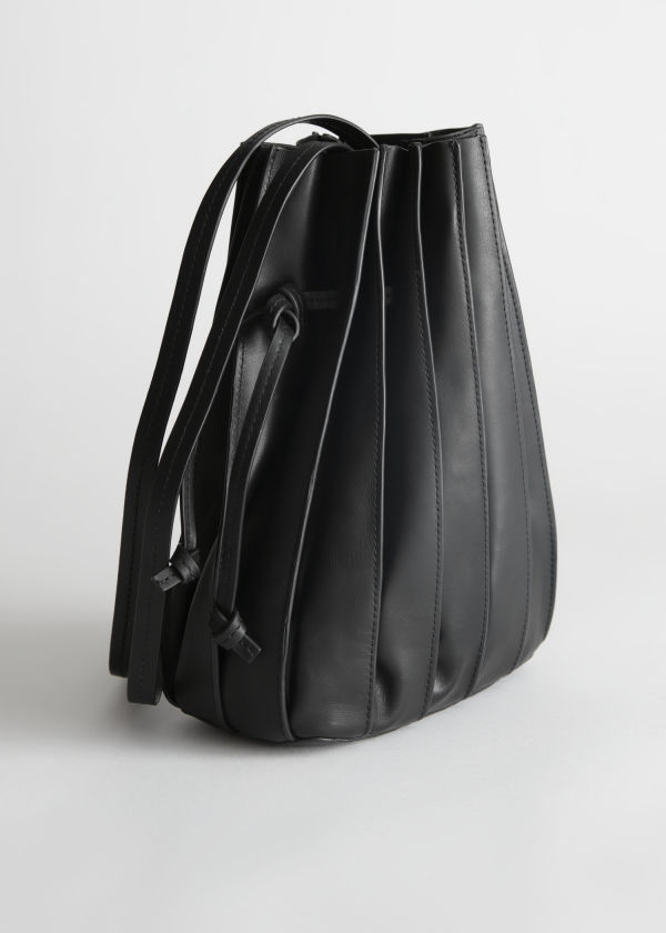 Pleated Leather Bucket Bag