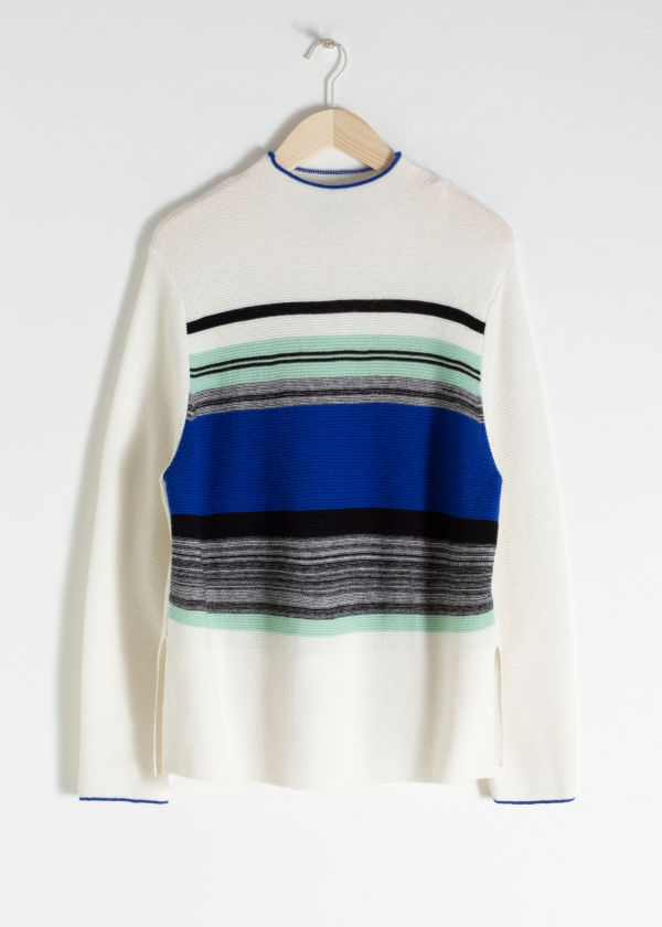 Oversized Striped Wool Blend Sweater