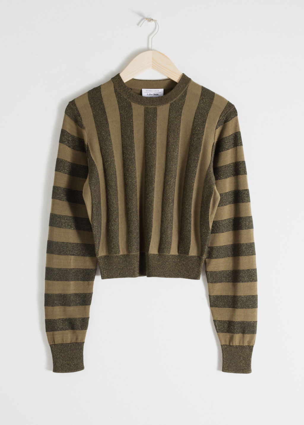 Front image of Stories cropped glitter stripe sweater in green