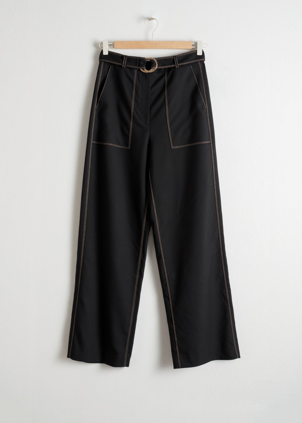 Front image of Stories belted workwear trousers in black