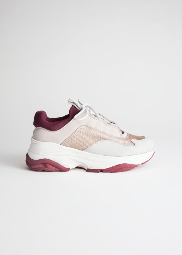 Front image of Stories colour block platform sneakers in white