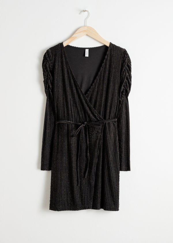 Glitter Stripe Velvet Wrap Dress