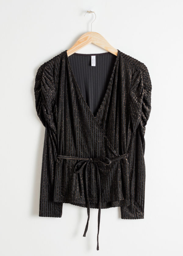Glitter Stripe Velvet Wrap Top