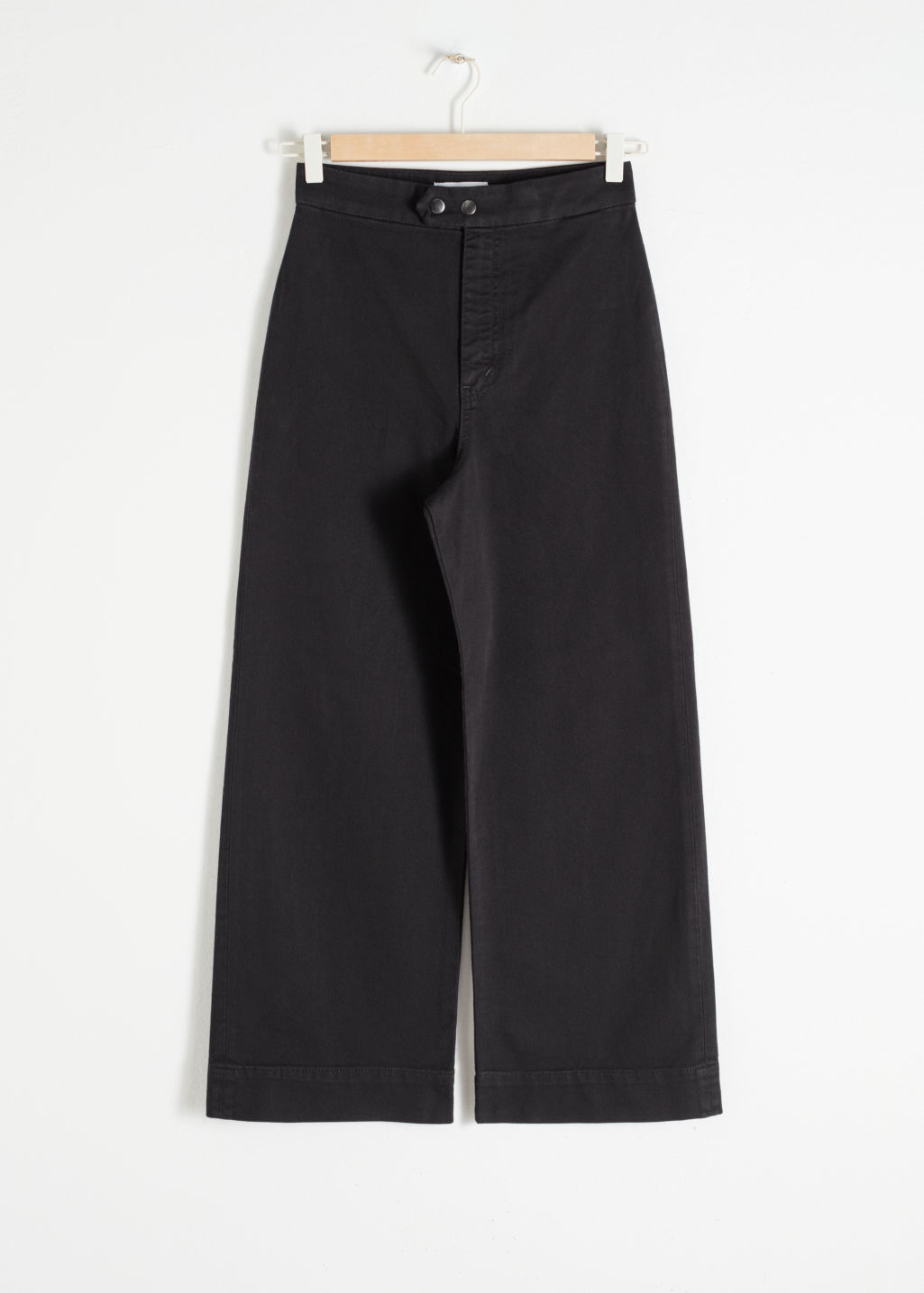 Front image of Stories twill culotte trousers in black