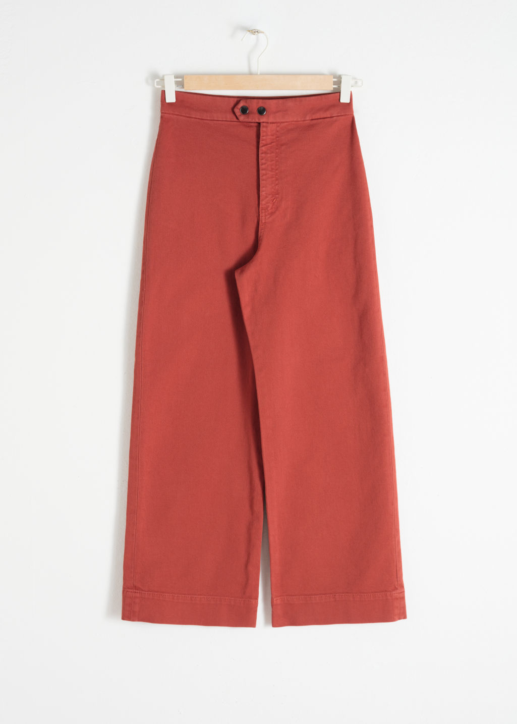 Front image of Stories twill culotte trousers in orange
