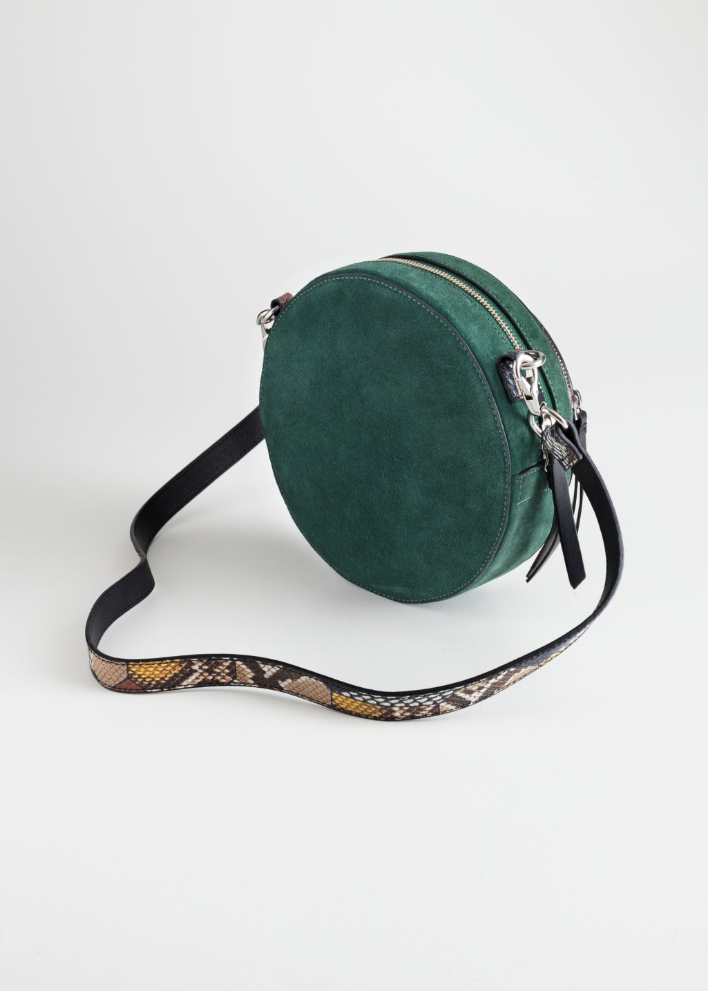 Back image of Stories duo pocket circle crossbody in green