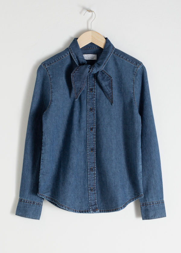 Front image of Stories organic cotton denim tie shirt in blue