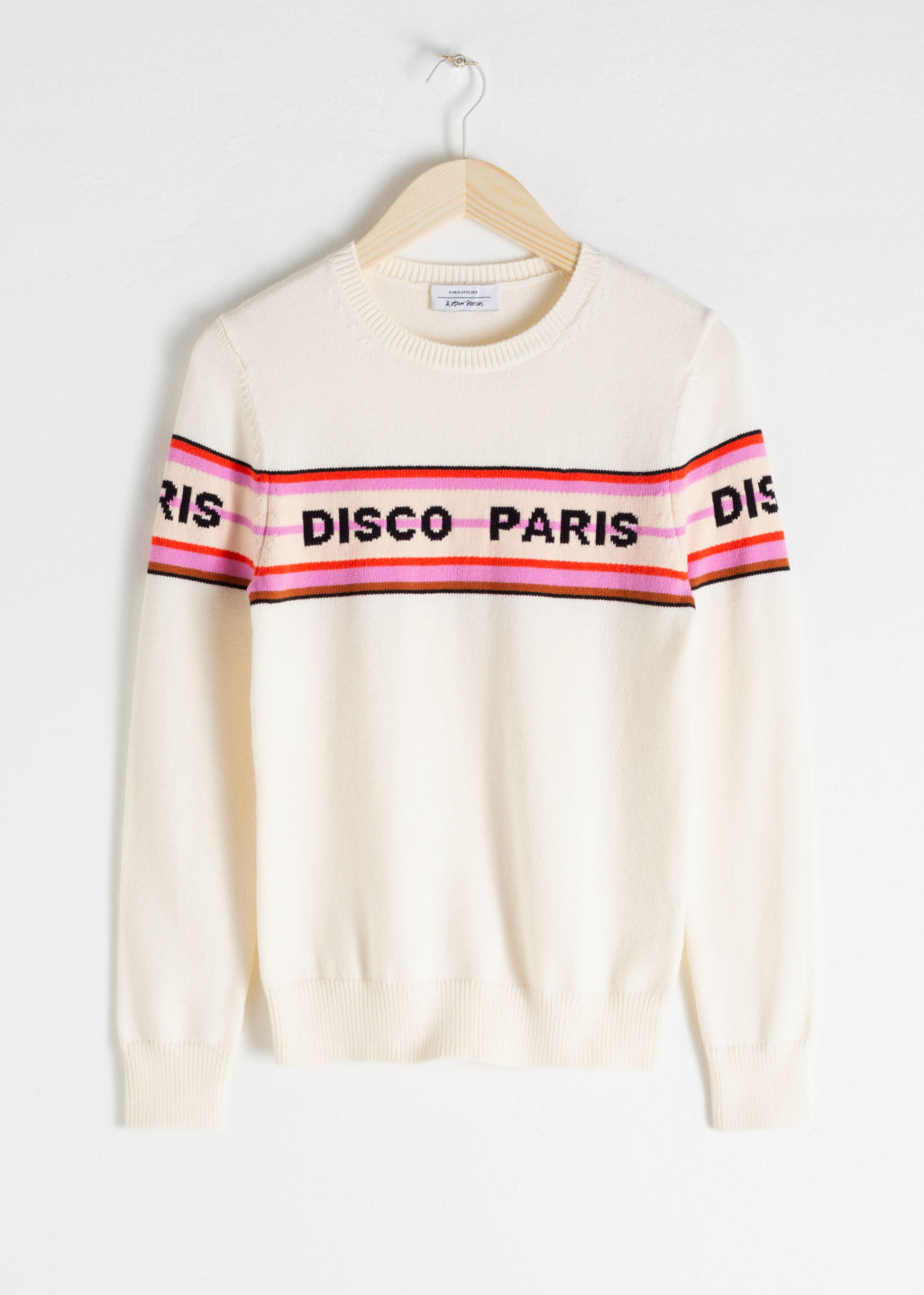 Front image of Stories disco paris cotton pullover in white