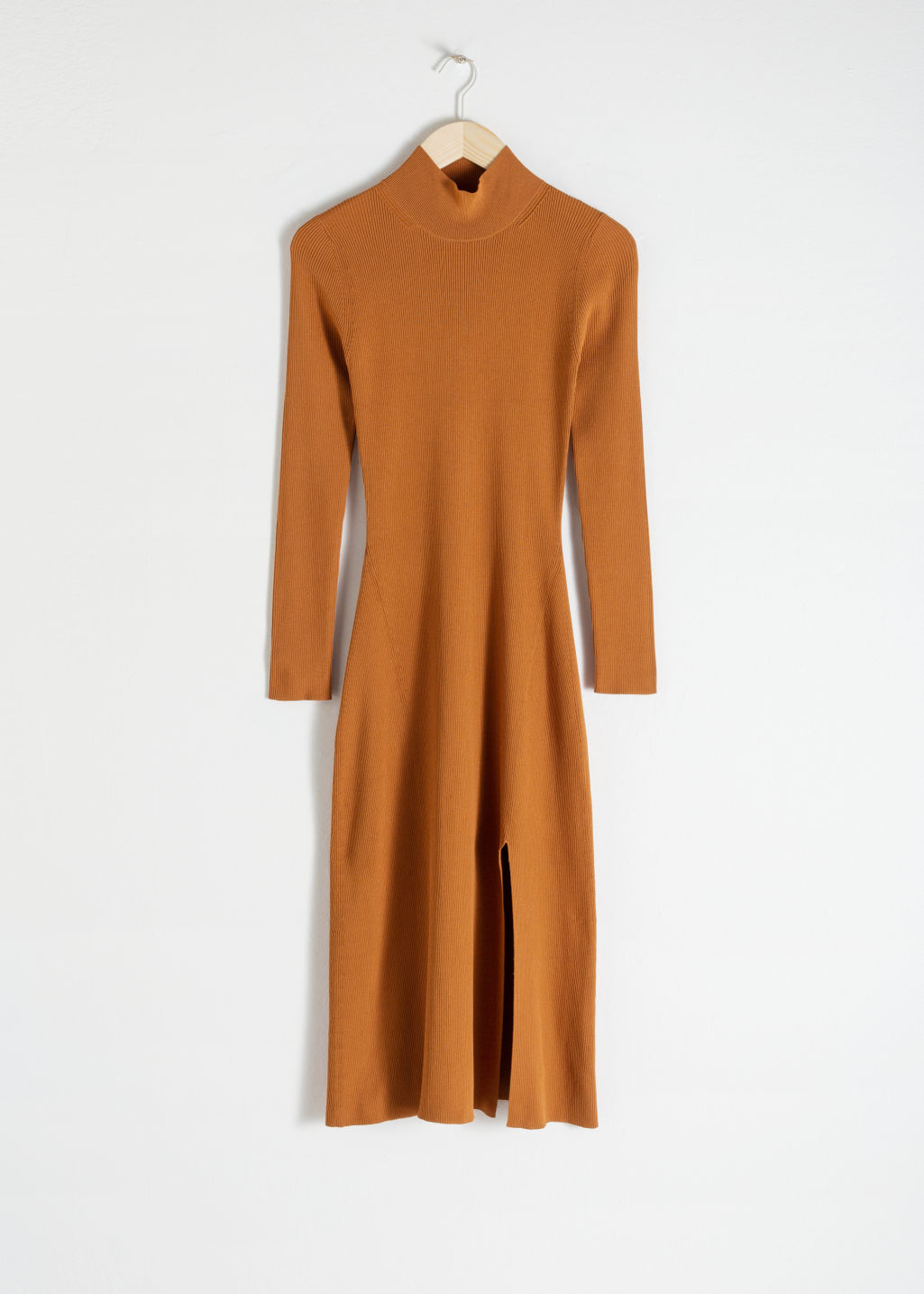 Front image of Stories ribbed turtleneck midi dress  in orange