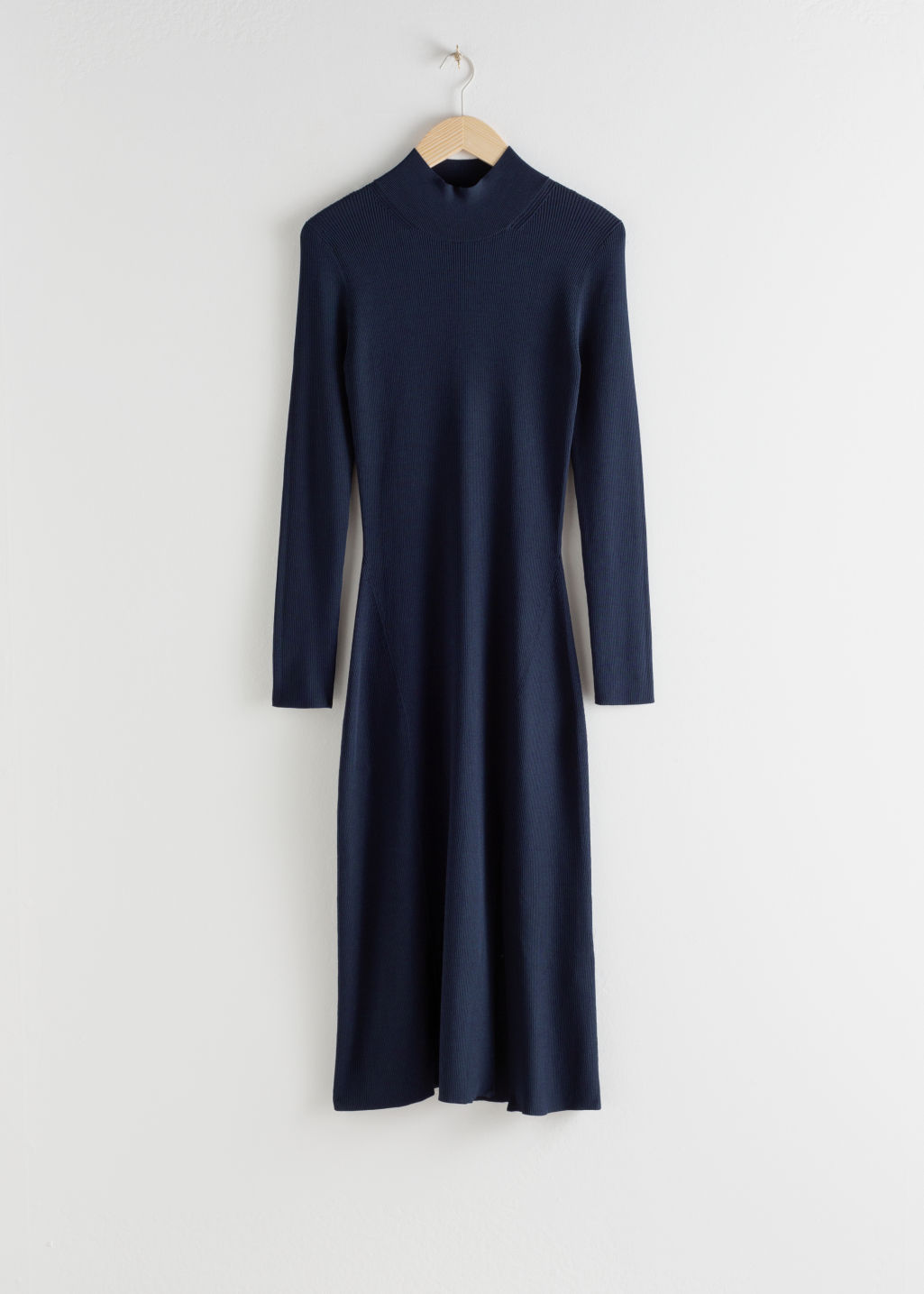 Front image of Stories ribbed turtleneck midi dress  in blue