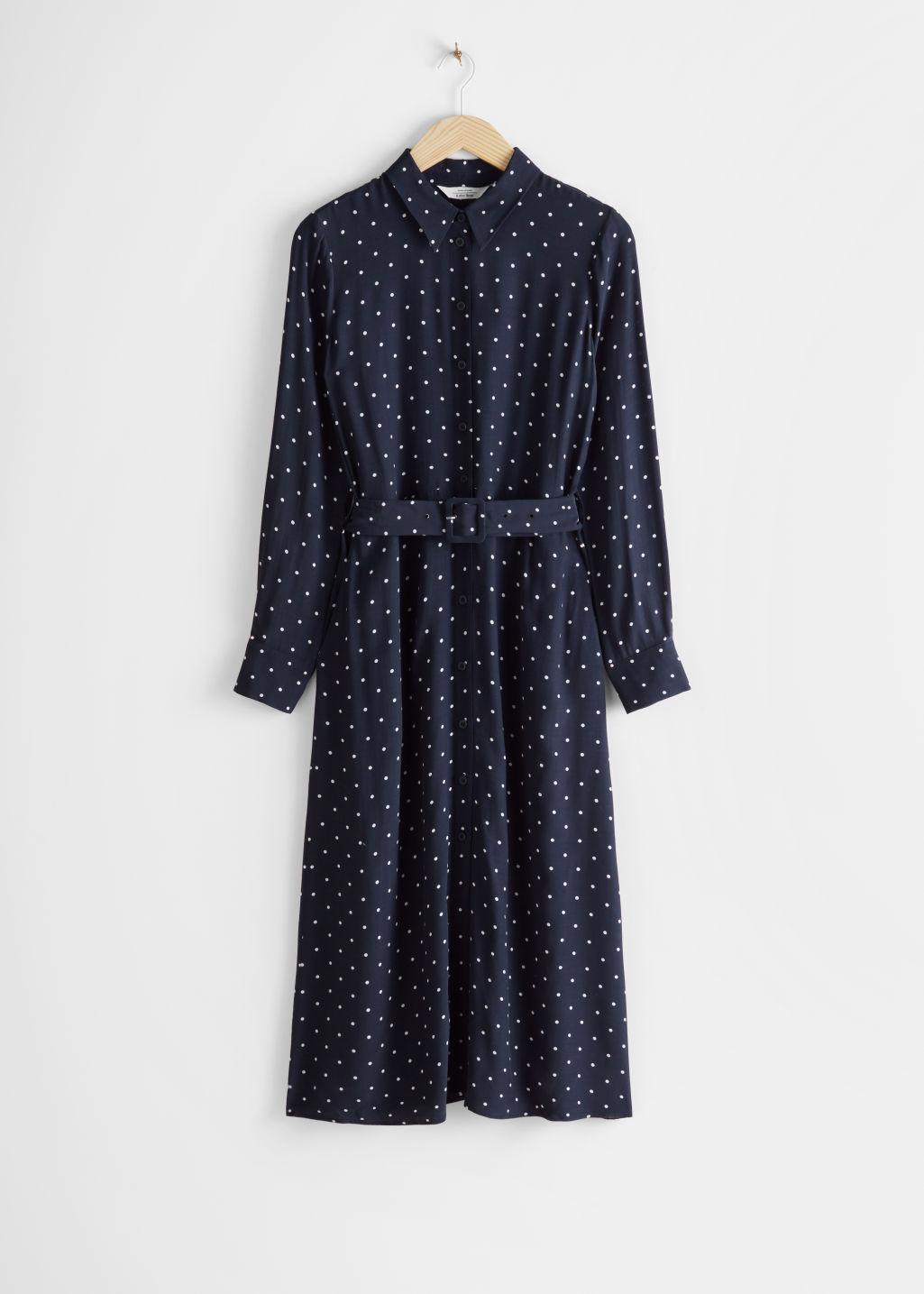Front image of Stories belted midi dress in blue