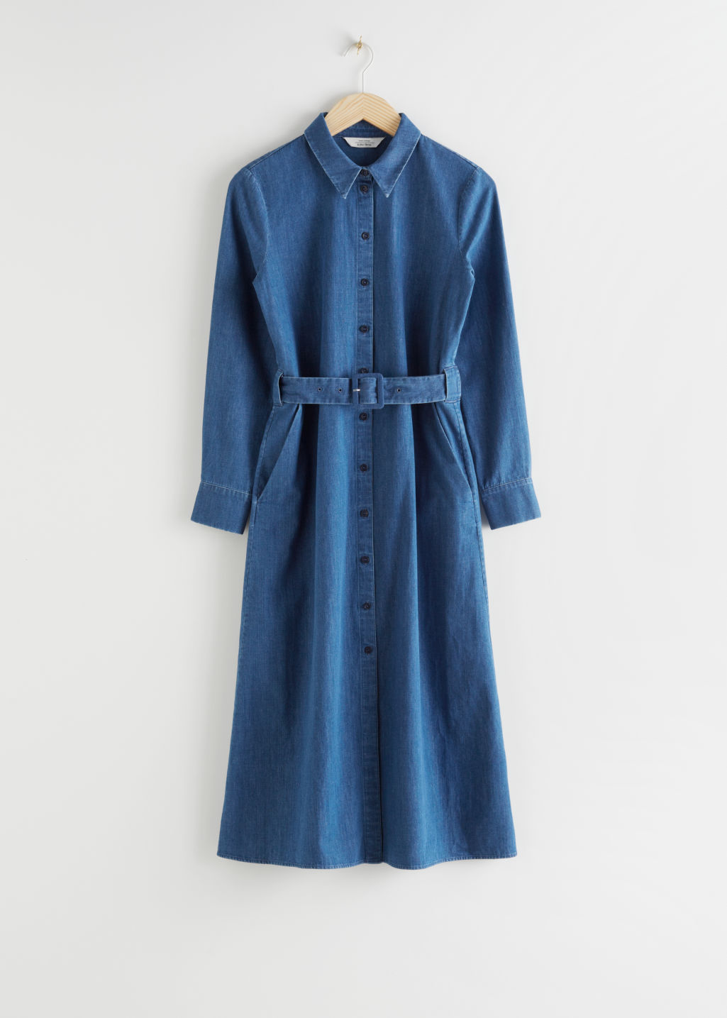 StillLife Front Image of Stories Belted Midi Dress in Blue