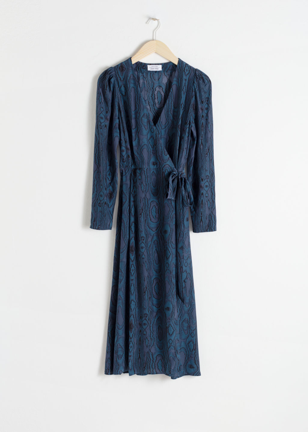 Front image of Stories wood jacquard midi wrap dress in blue