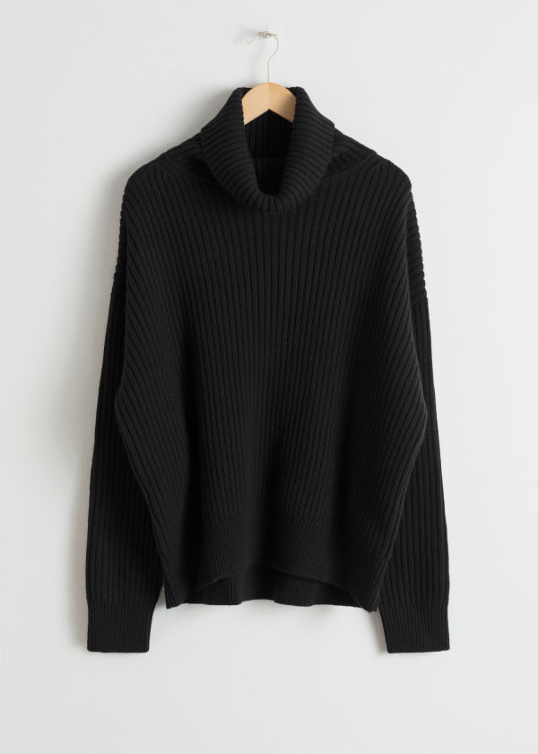 Oversized Wool Blend Turtleneck