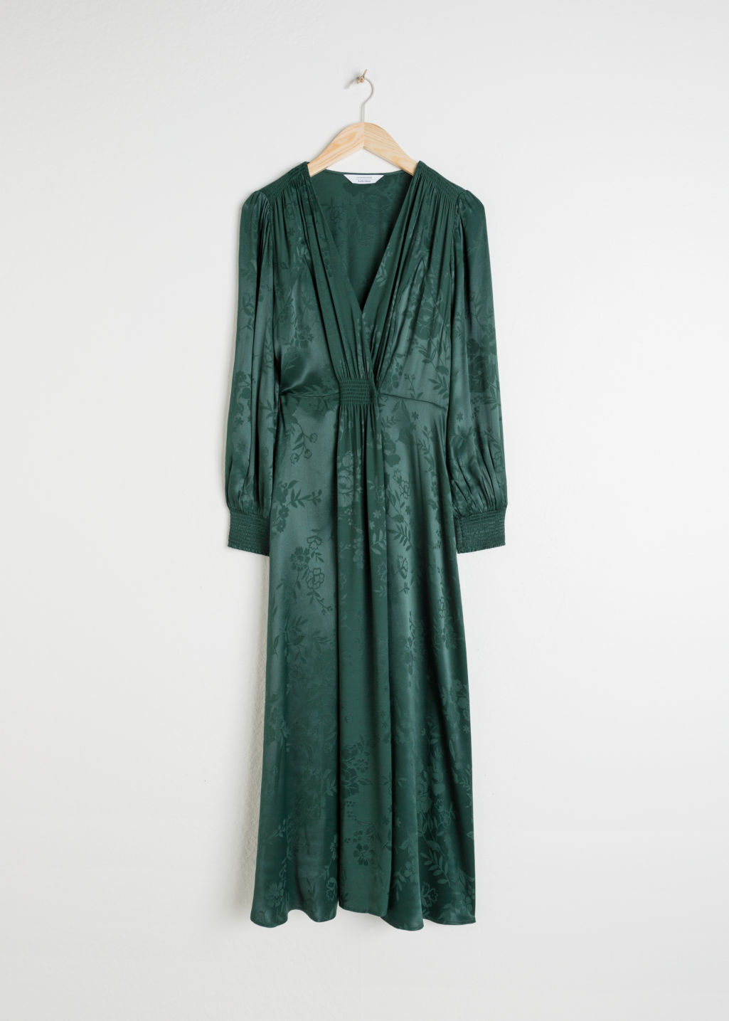 Front image of Stories ruched jacquard midi dress in green