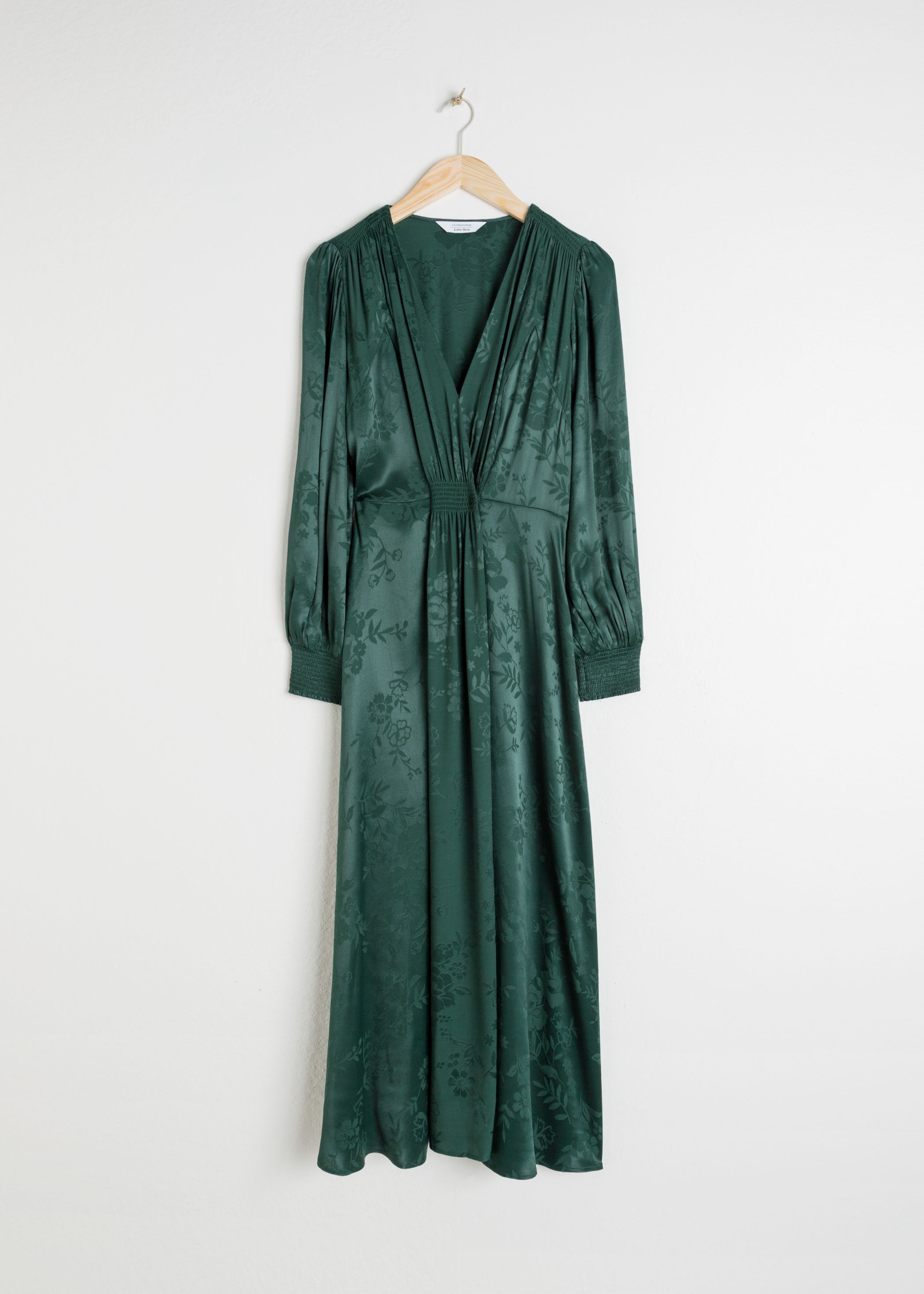 앤 아더 스토리즈 & OTHER STORIES Ruched Jacquard Midi Dress,Green