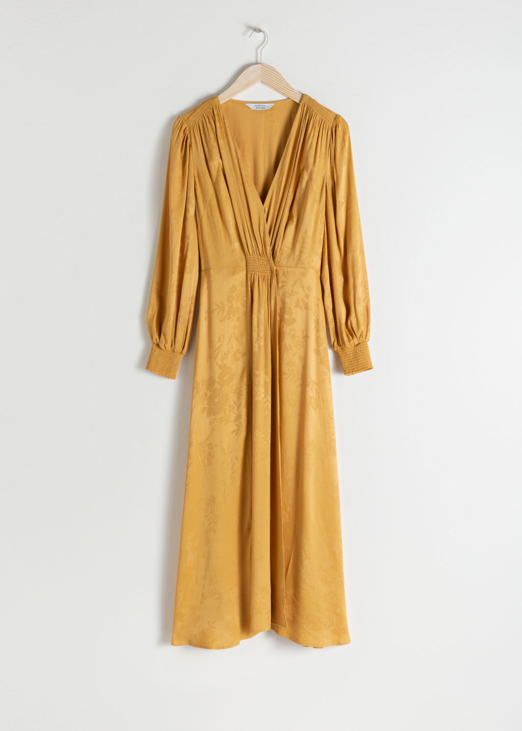 Front image of Stories ruched jacquard midi dress in yellow