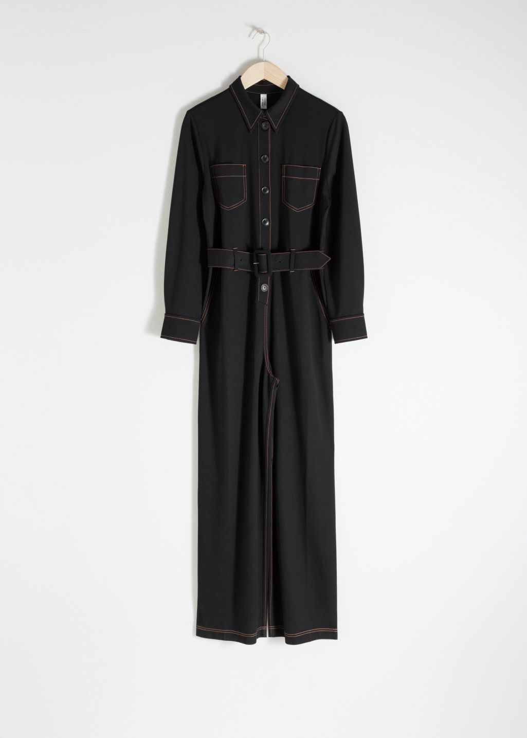 Front image of Stories workwear boiler suit in black