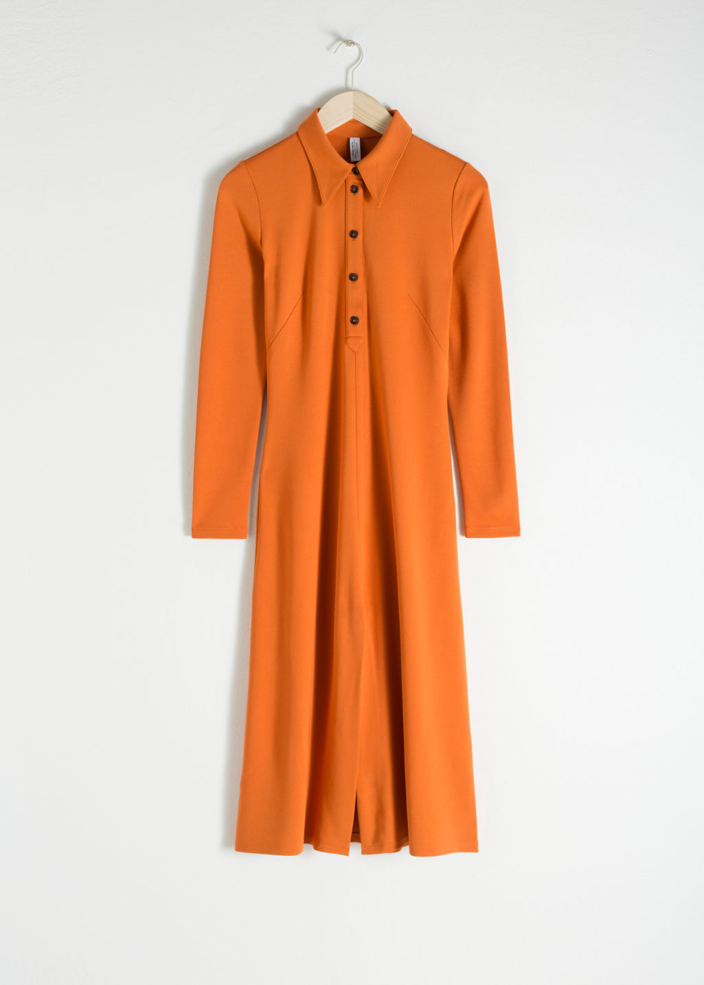 Front image of Stories front slit midi dress in orange