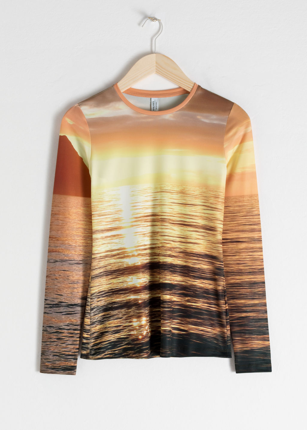 Front image of Stories long sleeve sunset top in yellow
