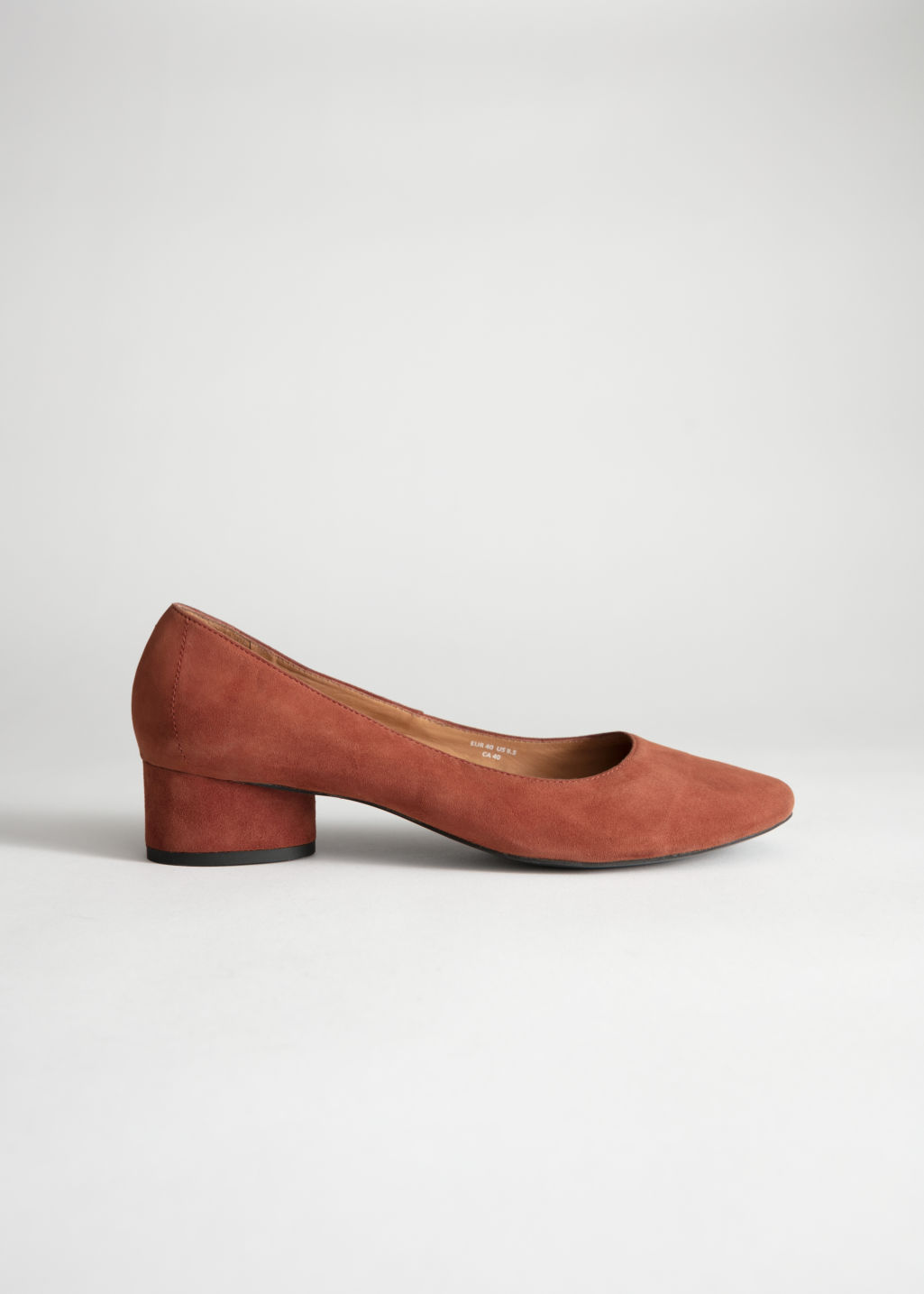 Front image of Stories suede ballerina pumps in beige
