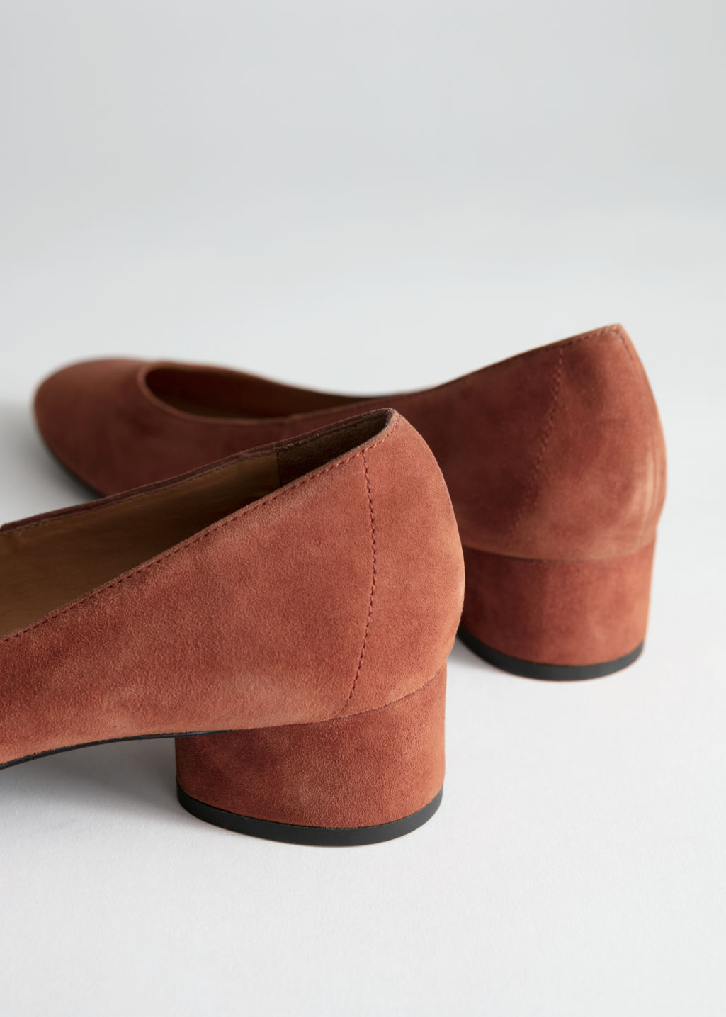 Back image of Stories suede ballerina pumps in beige