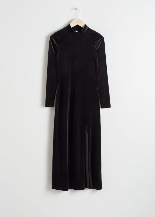 Front image of Stories velvet turtleneck midi dress in black