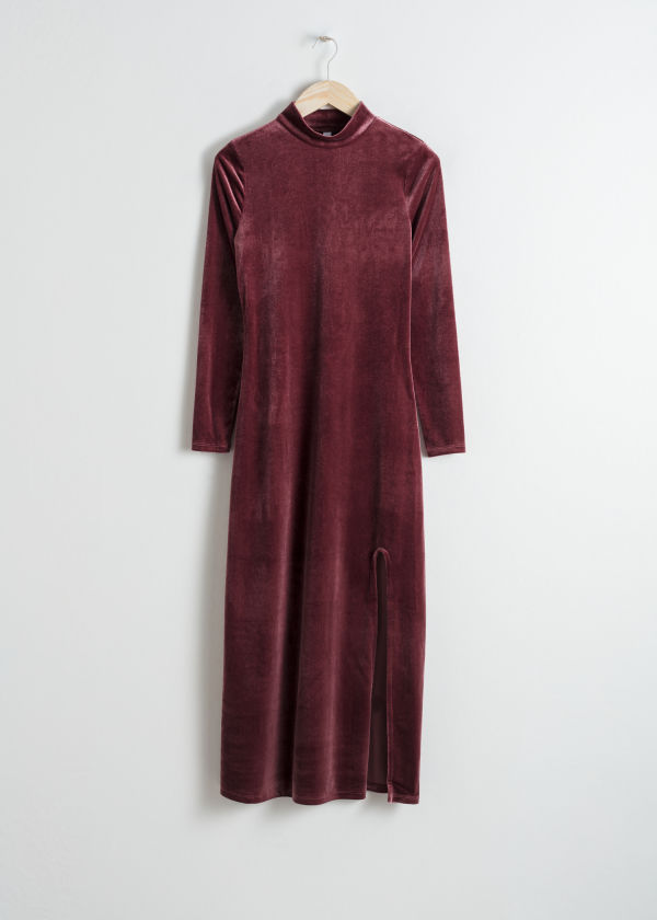 Front image of Stories velvet turtleneck midi dress in red
