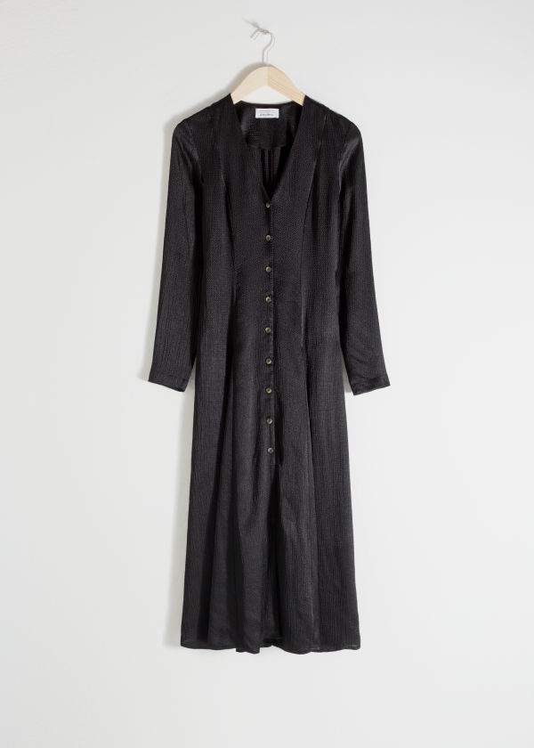 Front image of Stories satin button up midi dress in black
