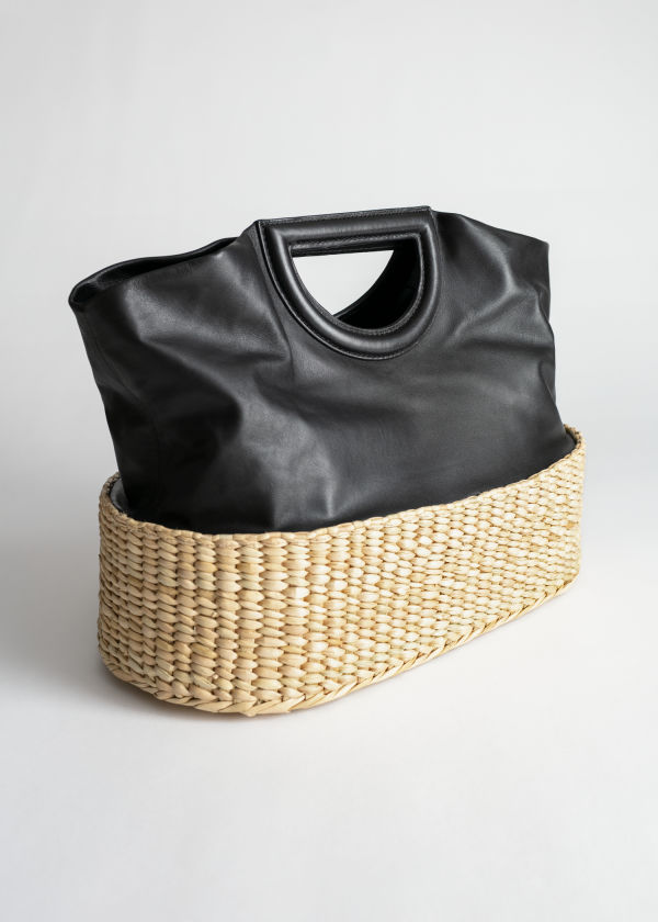 Structured Leather Straw Tote