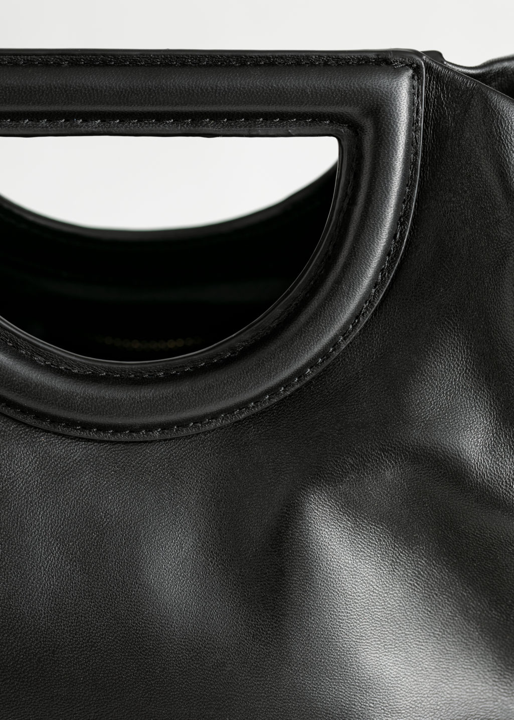 Back image of Stories structured leather straw tote in black