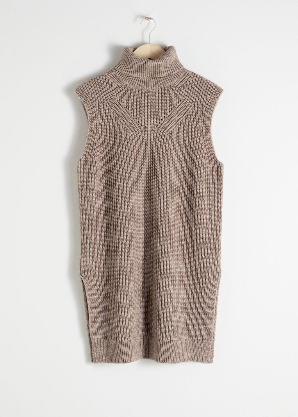 Front image of Stories cotton blend knit turtleneck vest in beige