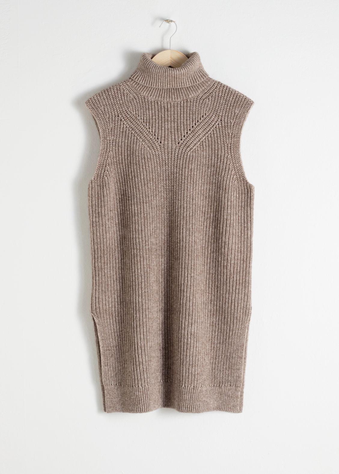 09a4a0f6714356 Cotton Blend Knit Turtleneck Vest - Beige - Turtlenecks - & Other ...