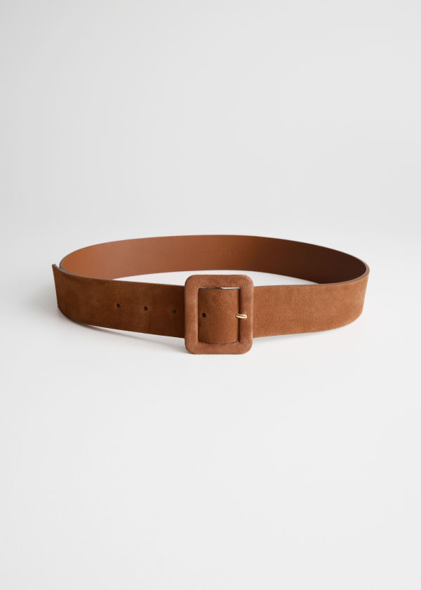 Square Buckle Suede Belt