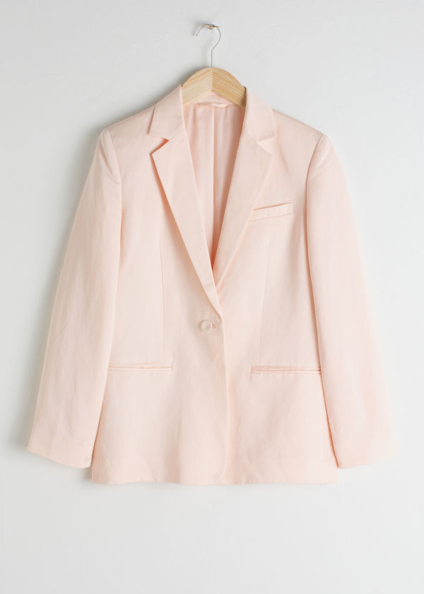 Front image of Stories seashell button oversized blazer in orange