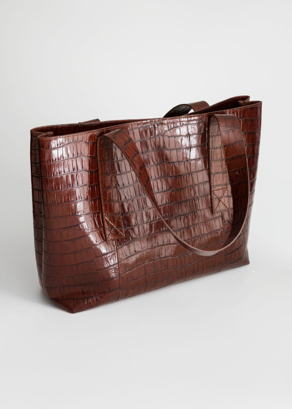 Crocodile Embossed Leather Tote Bag