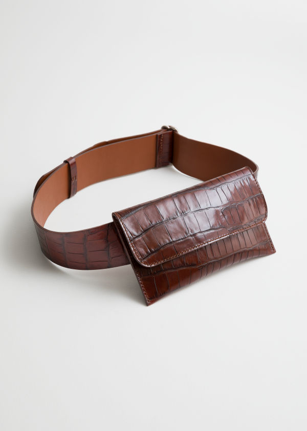 Crocodile Embossed Leather Belt Bag