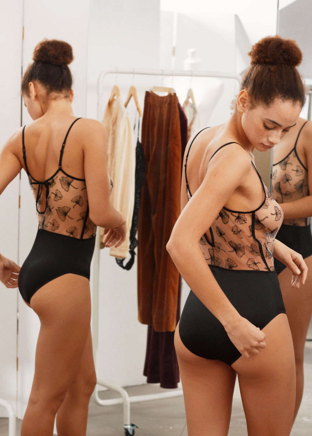 Back image of Stories leaf lace bodysuit in orange