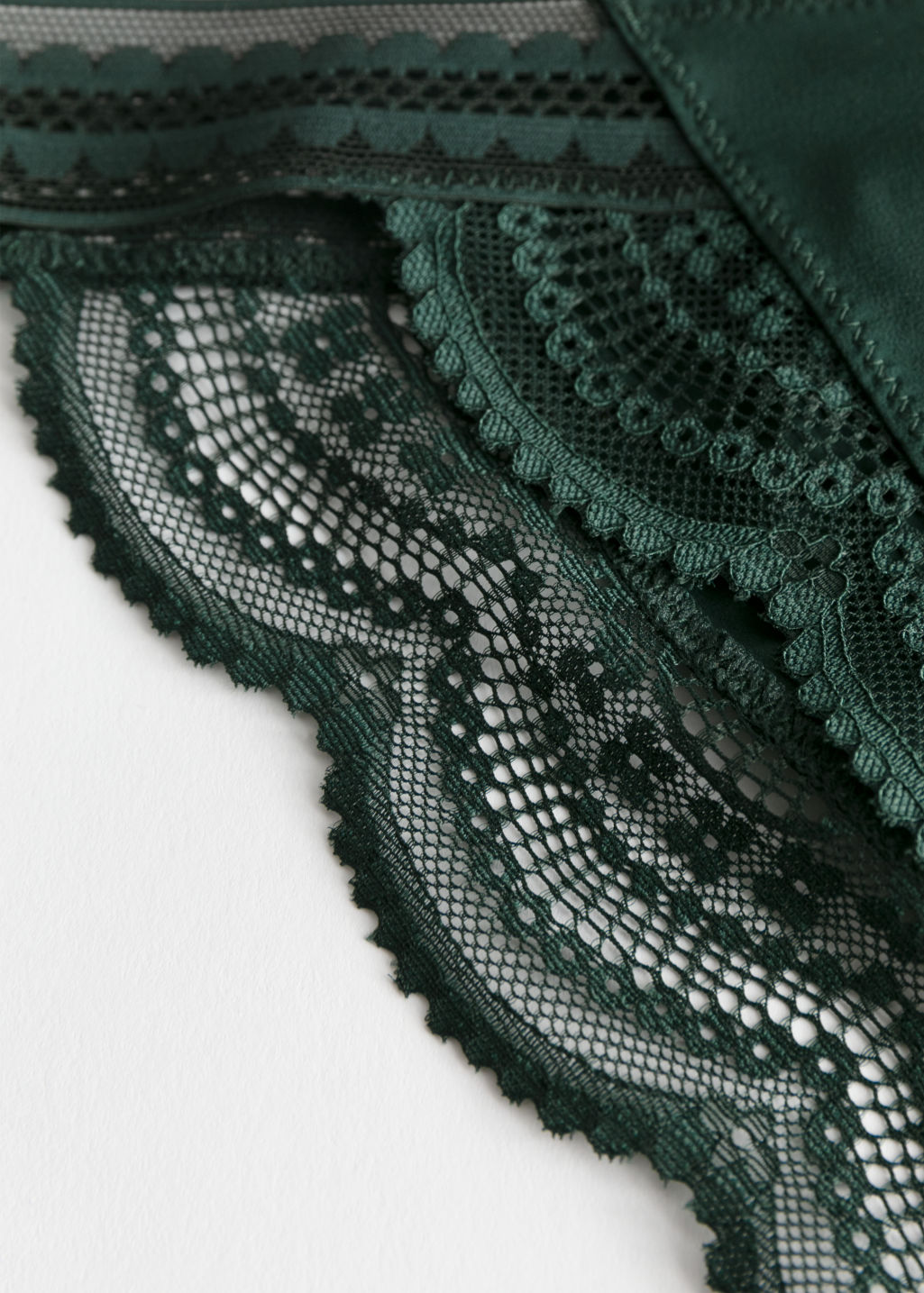 Back image of Stories high cut lace brief in green