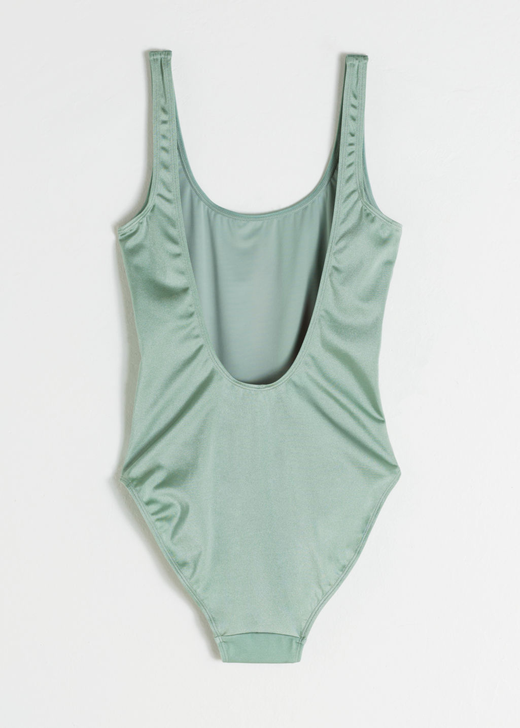 Back image of Stories scoop neck bird swimsuit in green