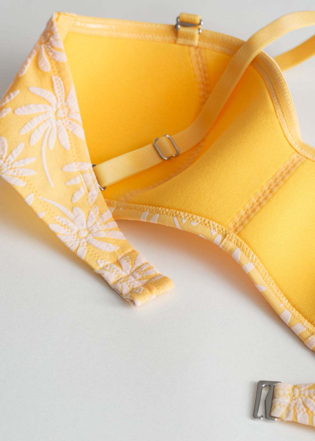Back image of Stories floral bandeau bikini top in yellow