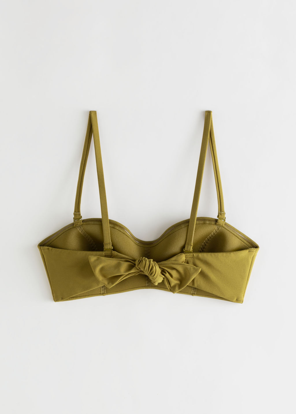 Back image of Stories tie bikini bandeau top in yellow