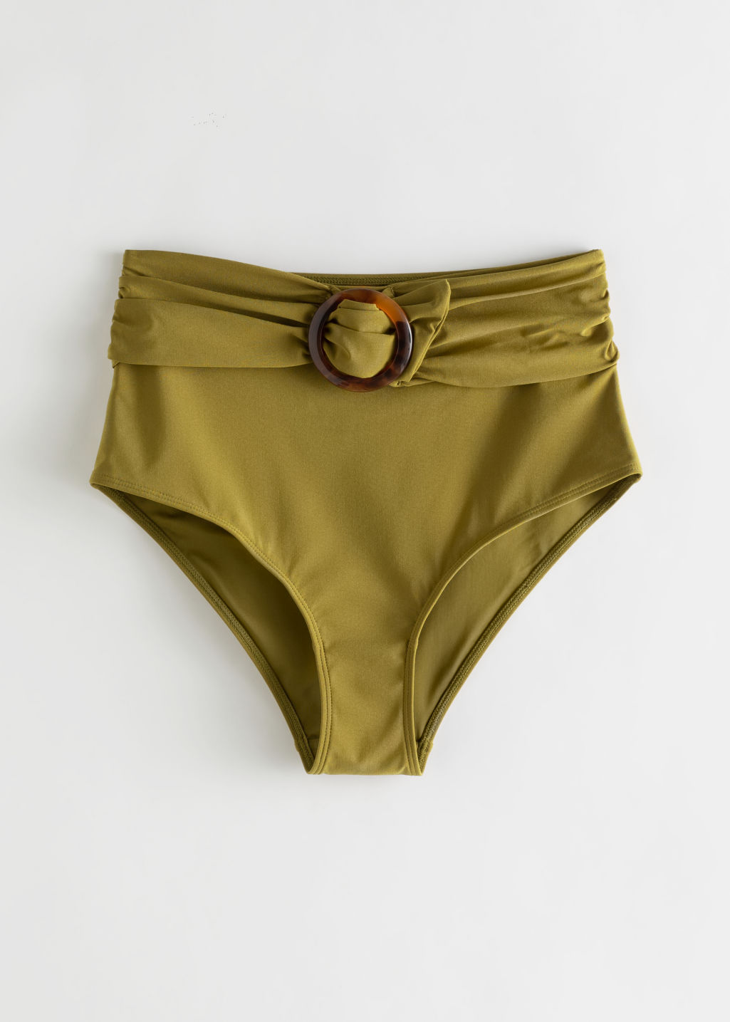 Front image of Stories belted high waisted bikini bottoms in yellow