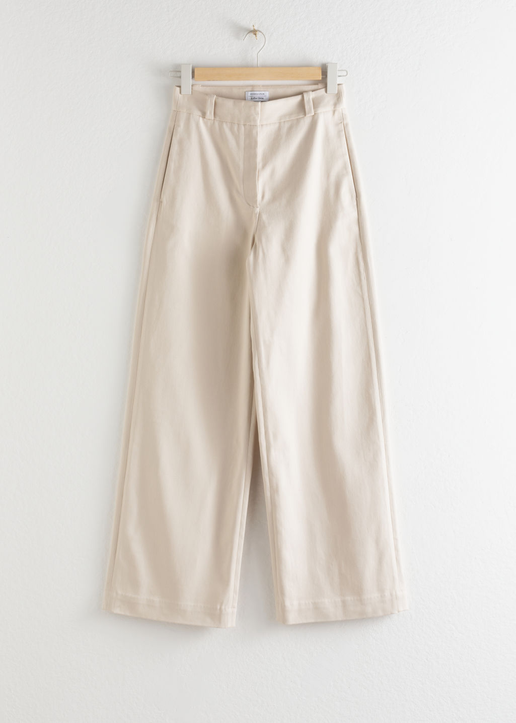 Front image of Stories stretch cotton culotte trousers in beige