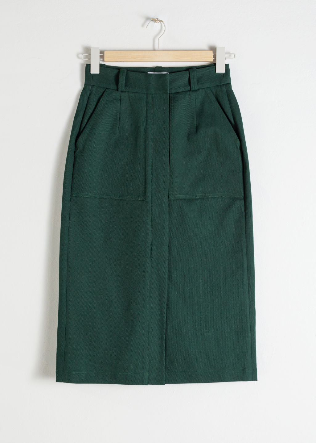 StillLife Front Image of Stories Stretch Cotton Pencil Skirt in Green