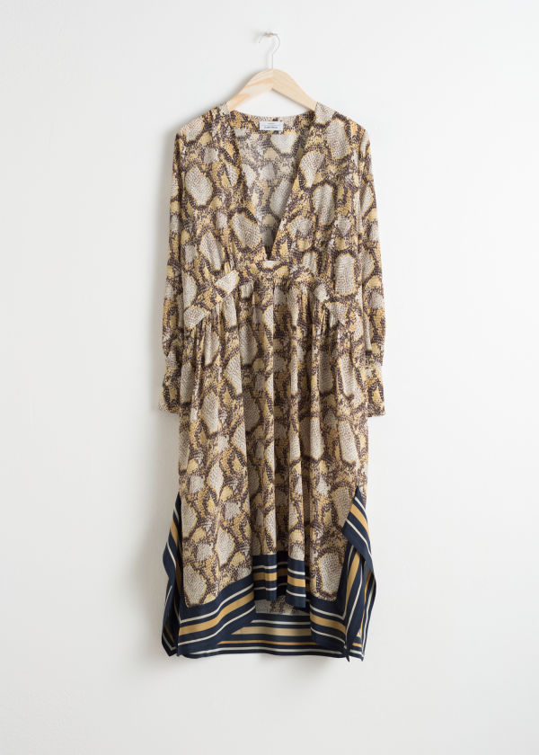 Oversized Snake Silk Dress