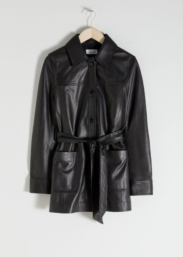 Belted Leather Trench
