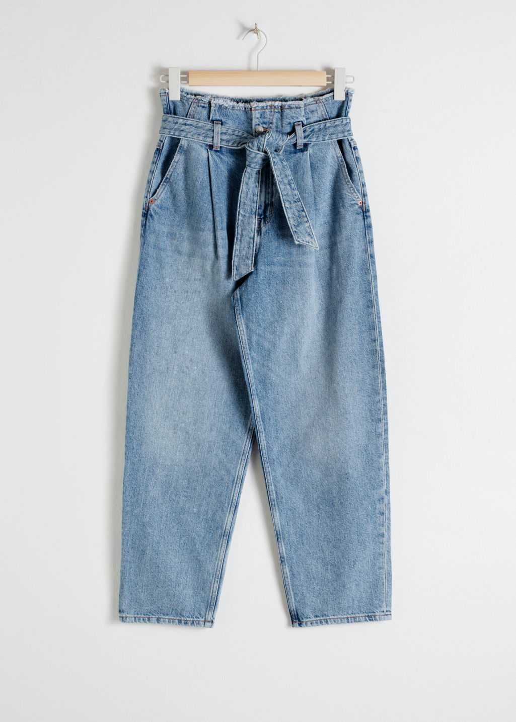Front image of Stories high belted organic cotton jeans in blue