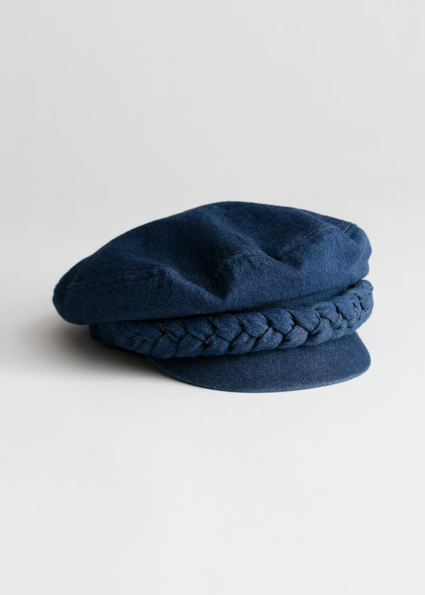 Braided Denim Baker Boy Cap