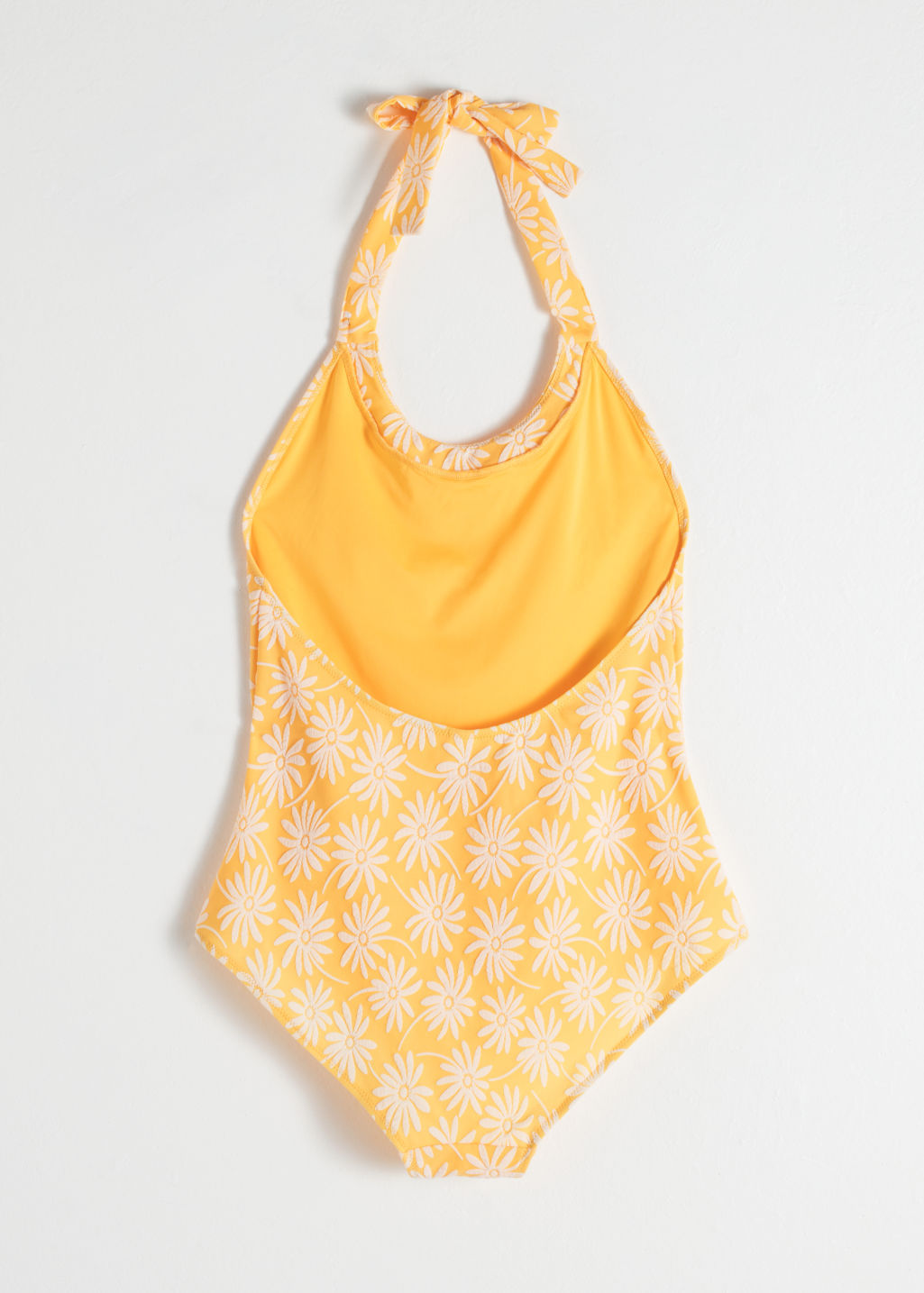 Back image of Stories floral halter swimsuit in yellow